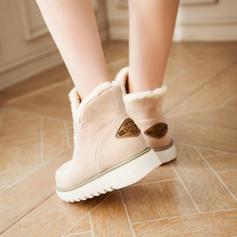 Mulheres Camurça Sem salto Botas Bota no tornozelo Botas de neve com Outros sapatos