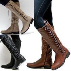 Donna PU Tacco spesso Stivali al ginocchio con Cerniera Allacciato scarpe