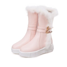 Women's Leatherette Flat Heel Boots Snow Boots With Buckle Faux-Fur shoes