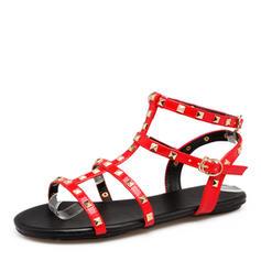 Femmes Cuir verni Talon plat Sandales Chaussures plates avec Rivet chaussures