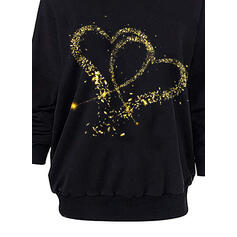 Print Heart One Shoulder Long Sleeves Sweatshirt