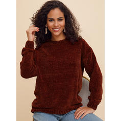 Solid Cable-knit Chunky knit Round Neck Sweaters