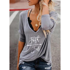 Print Figure V-Neck Long Sleeves Casual T-shirts