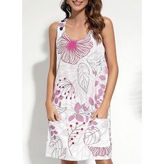 Nadrukowana/Kwiatowy Bez rękawów Koktajlowa Nad kolana Casual Czołg Sukienki