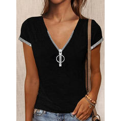 Sequins V-Neck Short Sleeves Casual Blouses