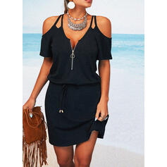 Solid Short Sleeves Sheath Above Knee Little Black/Casual/Vacation Dresses