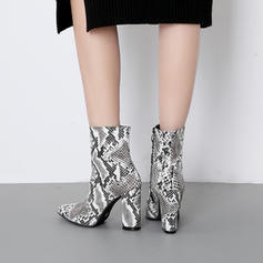 Women's Patent Leather Chunky Heel Pumps Closed Toe Ankle Boots With Zipper shoes