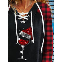 Sequins Plaid V-Neck Long Sleeves Casual Christmas Blouses