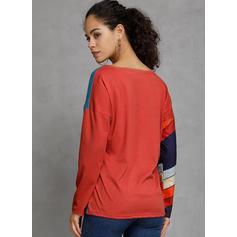 Kleurblok Gestreept V-hals Lange Mouwen Casual Overhemd