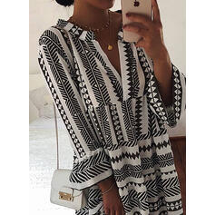 Print 3/4 Sleeves/Flare Sleeves Shift Knee Length Casual/Vacation Tunic Dresses