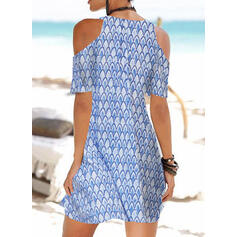 Print Short Sleeves/Cold Shoulder Sleeve Shift Above Knee Casual/Vacation Dresses