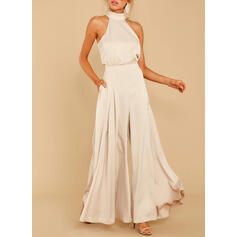 Solid Halter Sleeveless Elegant Party Jumpsuit