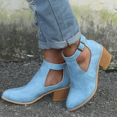 Women's Suede Chunky Heel Sandals Pumps With Buckle shoes