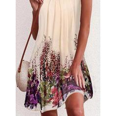 印刷 ノースリーブ シフトドレス 膝上 セクシー/カジュアル/休暇 スリップ ドレス