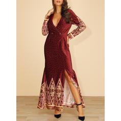 Print/Floral/PolkaDot Long Sleeves Sheath Maxi Party/Elegant Dresses