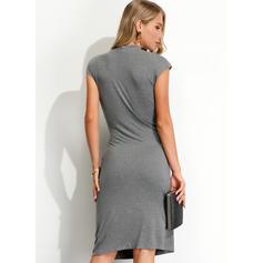 Jednolita Krótkie rękawy Pokrowiec Długośc do kolan Przyjęcie Sukienki