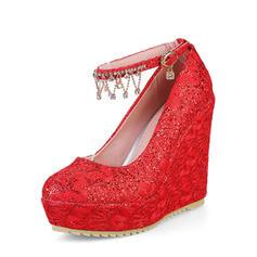 Femmes PU Talon compensé Plateforme Bout fermé Compensée avec Chaîne chaussures