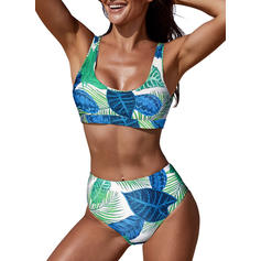 Cintura Alta Estampado tropical Correa Sexy Bikinis Trajes de baño