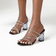 Women's PU Chunky Heel Sandals Slingbacks Slippers With Rhinestone shoes