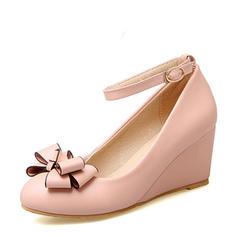 Dla kobiet PVC Obcas Koturnowy Koturny Z Kokarda obuwie