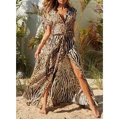 Print/Leopard Short Sleeves Shift Shirt Casual/Vacation Maxi Dresses