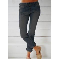Pockets Shirred Long Casual Long Skinny Denim & Jeans