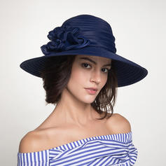 Signore Bella/Moda Poliestere con Fiore Cappello floscio/Beach / Sun Cappelli