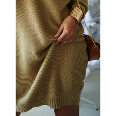 Solid Long Sleeves Shift Above Knee Little Black/Casual Sweater Dresses