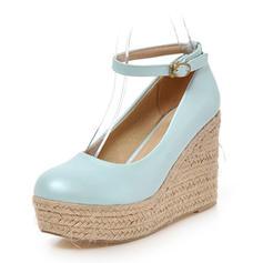Women's Leatherette Wedge Heel Pumps Closed Toe shoes