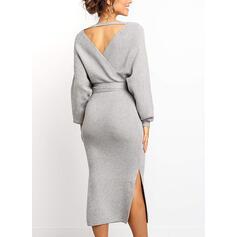 Solid Long Sleeves Sheath Sweater Little Black/Elegant Midi Dresses
