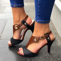 Mulheres PU Salto agulha Sandálias Bombas Peep toe Saltos com Fivela sapatos