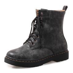 Femmes Similicuir Talon plat Chaussures plates Bout fermé Bottes Bottines Bottes mi-mollets Martin bottes Bottes cavalières avec Dentelle chaussures