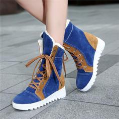 Femmes Suède Talon bas Chaussures plates Bout fermé avec Dentelle chaussures