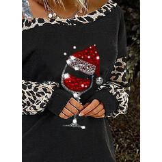 Блестки леопард Одно плечо Длинные рукова Повседневная рождество Блузы