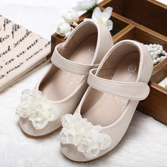 Girl's Leatherette Flat Heel Closed Toe Flower Girl Shoes With Bowknot Rhinestone