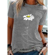 Impresión Floral Cuello redondo Manga corta Casual Camisetas