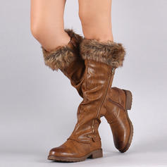 Women's Leatherette Low Heel Knee High Boots With Zipper Faux-Fur shoes