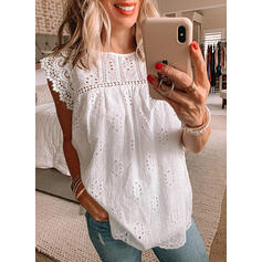 Solid Hollow-out Round Neck Cap Sleeve Elegant Blouses