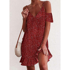 PolkaDot Short Sleeves Shift Above Knee Casual/Vacation Dresses