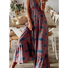 Print Short Sleeves Small Flying Sleeve A-line Skater Casual/Vacation Maxi Dresses