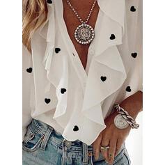 Print Heart V-Neck Long Sleeves Button Up Elegant Blouses