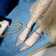 Femmes PVC Talon plat Chaussures plates Bout fermé avec Boucle Dentelle chaussures