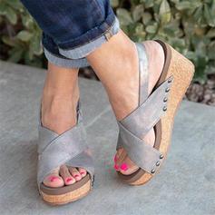 Femmes PU Talon compensé Sandales Compensée avec Velcro chaussures