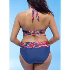 Floral High Waist Halter Beautiful Plus Size Bikinis Swimsuits