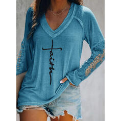 Εκτύπωση Δαντέλα Малюнок V-λαιμός Μακρυμάνικο Καθημερινό Блузи