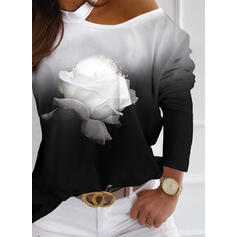 Print Floral Gradient One-Shoulder Long Sleeves Casual Blouses