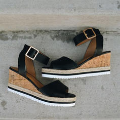 Vrouwen PU Wedge Heel Sandalen Wedges Peep Toe met Gesp schoenen