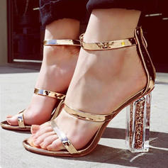 Women's Sandals Peep Toe Chunky Heel Leatherette With Zipper Sandals