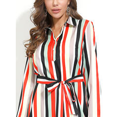 Striped 3/4 Sleeves A-line Knee Length Casual/Vacation Shirt Dresses