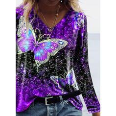 Print Butterfly V-Neck Long Sleeves T-shirts